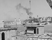 "Ackroyd 11393-1. ""Ackroyd studio. copy negative USS Battleship Oregon. HSA took original from Wisco dock. en route to scrapping at Kalama. December 7, 1962"" (date copy made. Photo taken March 1943)"