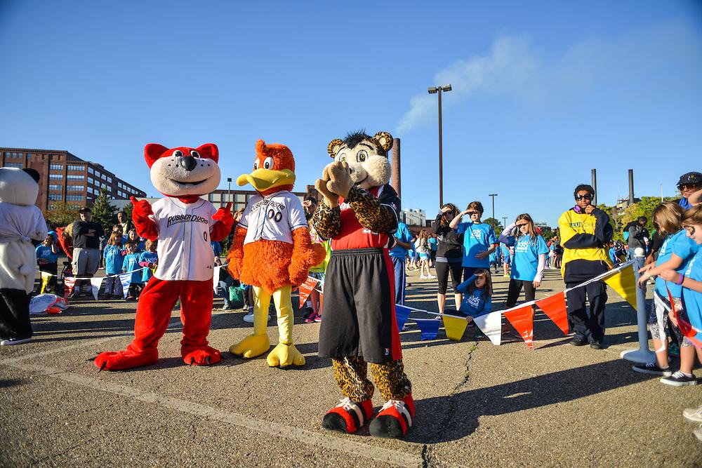 Akron mascots at the Kids Fun Run.