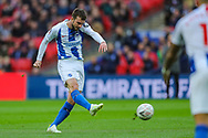 Brighton & Hove Albion midfielder Davy Propper (24) has a shot off target during the The FA Cup semi-final match between Manchester City and Brighton and Hove Albion at Wembley Stadium, London, England on 6 April 2019.