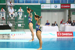March 9, 2018 - Beijing, Beijing, China - Beijing, CHINA-9th March 2018: Chinese divers Wang Han and Chen Yiwen win the gold medal of women's 3m springboard at FINA Diving World Series in Beijing, March 9th, 2018. (Credit Image: © SIPA Asia via ZUMA Wire)