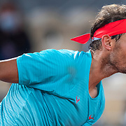 PARIS, FRANCE October 06. Rafael Nadal of Spain in action against Jannik Sinner of Italy in the Quarter Finals of the singles competition on Court Philippe-Chatrier during the French Open Tennis Tournament at Roland Garros on October 6th 2020 in Paris, France. (Photo by Tim Clayton/Corbis via Getty Images)