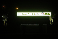 The floodlights go out for a third timed the referee ends the game on 76 minutes during the EFL Cup match between Burton Albion and Bournemouth at the Pirelli Stadium, Burton upon Trent, England on 25 September 2019.