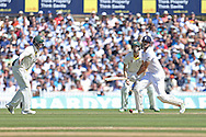 Captain Alastair Cook of England gets 4 runs during the 3rd day of the Investec Ashes Test match between England and Australia at the Oval, London, United Kingdom on 22 August 2015. Photo by Phil Duncan.