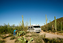 RV life: Saguaro National Monument, Tucson area, AZ    .Photo Copyright: Lee Foster, lee@fostertravel.com, www.fostertravel.com,  (510) 549-2202.Image rvlife209