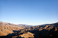 Tizi-n-Tichka pass against clear blue sky in the High Atlas Mountains, Morocco