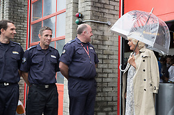 The Duchess of Cornwall greets fire fighters based at Newquay Fire Station as she meets with residents from Tregunnel Hill, Cornwall, a mixed-use neighbourhood built on Duchy of Cornwall land in Newquay comprising open-market and affordable homes.