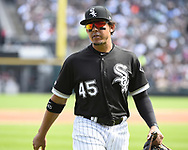 CHICAGO - JUNE 29:  Jon Jay #45 of the Chicago White Sox looks on against the Minnesota Twins on June 29, 2019 at Guaranteed Rate Field in Chicago, Illinois.  (Photo by Ron Vesely)  Subject:  Jon Jay
