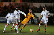 Sean Rigg of Newport county © is fouled by Pelly Ruddock Mpanzu (17) of Luton Town. EFL Skybet football league two match, Newport county v Luton Town at Rodney Parade in Newport, South Wales on Tuesday 21st March 2017.<br /> pic by Andrew Orchard,  Andrew Orchard sports photography.