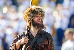 Sep 11, 2021; Morgantown, West Virginia, USA; The West Virginia Mountaineers mascot smiles along the sidelines during the first quarter against the Long Island Sharks at Mountaineer Field at Milan Puskar Stadium. Mandatory Credit: Ben Queen-USA TODAY Sports