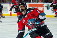 KELOWNA, BC - DECEMBER 18:  Steel Quiring #25 of the Kelowna Rockets warms up on the ice against the Vancouver Giants at Prospera Place on December 18, 2019 in Kelowna, Canada. (Photo by Marissa Baecker/Shoot the Breeze)