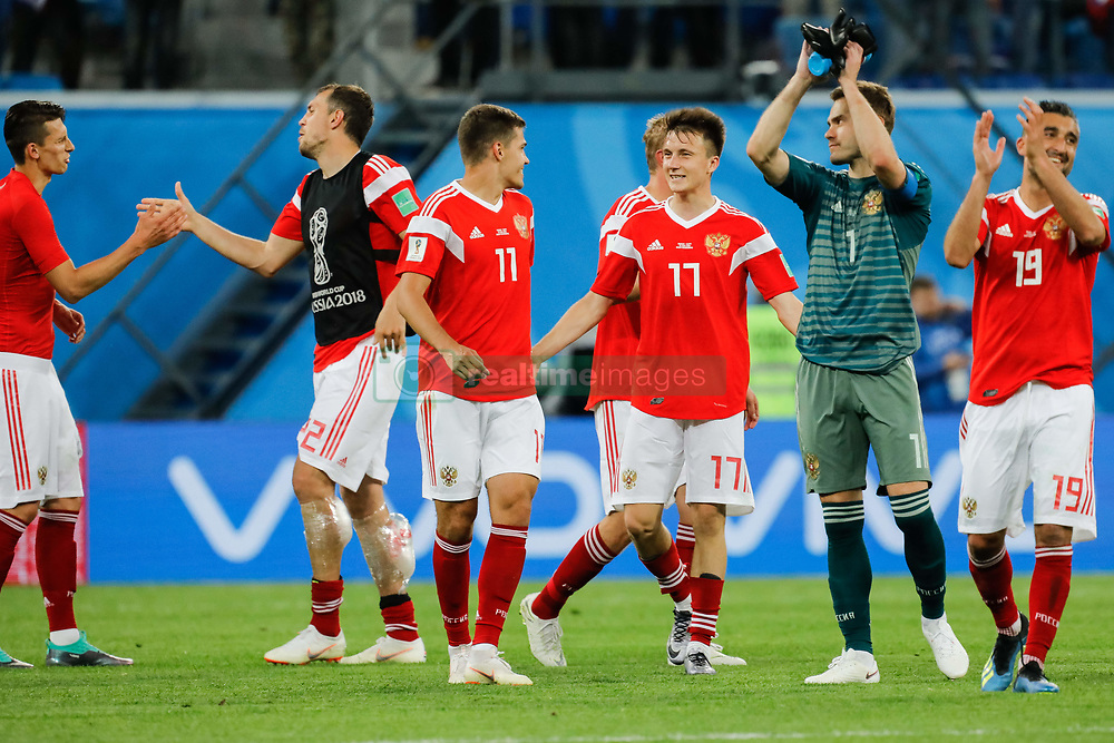 June 19, 2018 - Saint Petersburg, Russia - Russia national team players celebrate victory during the 2018 FIFA World Cup Russia group A match between Russia and Egypt on June 19, 2018 at Saint Petersburg Stadium in Saint Petersburg, Russia. (Credit Image: © Mike Kireev/NurPhoto via ZUMA Press)