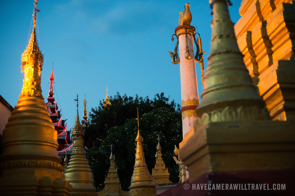 Sitting on top of Mandalay Hill, Sutaungpyei Pagoda features a large ornately decorate patio that offers scenic views out over the plain on which the city of Mandalay sits.