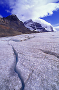 Crevasse in the Athabasca Glacier under Mount Andromeda, Columbia Icefields Area, Jasper National Park, Alberta, Canada