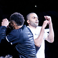 02 April 2017: San Antonio Spurs guard Tony Parker (9) is seen with San Antonio Spurs guard Patty Mills (8) during the players introduction prior to the San Antonio Spurs 109-103 victory over the Utah Jazz, at the AT&T Center, San Antonio, Texas, USA.