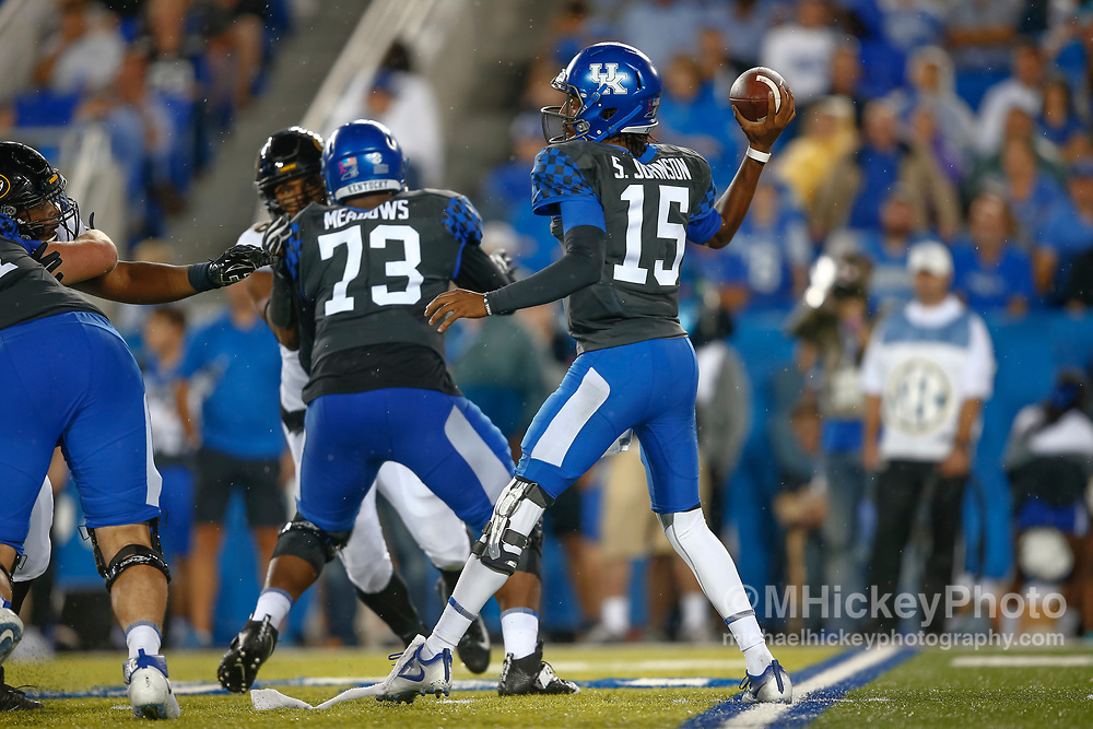 LEXINGTON, KY - OCTOBER 07: Stephen Johnson #15 of the Kentucky Wildcats drops back to throw during the game against the Missouri Tigers at Commonwealth Stadium on October 7, 2017 in Lexington, Kentucky. (Photo by Michael Hickey/Getty Images) *** Local Caption *** Stephen Johnson