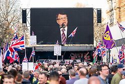 © Licensed to London News Pictures. 29/03/2019. Leader of UKIP Gerard Batten speaks on stage during a Leave Means Leave demonstration taking place in Westminster on the day that Britain was originally due to leave the European Union. MPs today rejected Theresa May's withdrawal deal for the third time. Photo credit : Tom Nicholson/LNP
