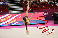 Vladinova Neviana, Bulgaria, during the 33rd European Rhythmic Gymnastics Championships at Papp Laszlo Budapest Sports Arena, Budapest, Hungary on 20 May 2017.  Bulgaria wins the bronze medal. Photo by Myriam Cawston.