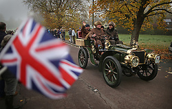 © Licensed to London News Pictures. 01/11/2015. Staplefield, UK. A 1903 Darracq passes through Staplefield during the London to Brighton Veteran Car Run.  Photo credit: Peter Macdiarmid/LNP