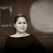 Black and white sepia portrait of Cheenie Changco in Boston, MA