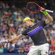2019 US Open Tennis Tournament- Day Six.  Denis Shapovalov of Canada slams his racquet down during the fifth set against Gael Monfils of France in the Men's Singles round three match on Louis Armstrong Stadium during the 2019 US Open Tennis Tournament at the USTA Billie Jean King National Tennis Center on August 31st, 2019 in Flushing, Queens, New York City.  (Photo by Tim Clayton/Corbis via Getty Images)