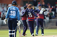 Lancashires Steven Croft congratulated for his wicket during the Royal London 1 Day Cup match between Lancashire County Cricket Club and Derbyshire County Cricket Club at the Emirates, Old Trafford, Manchester, United Kingdom on 2 May 2019.