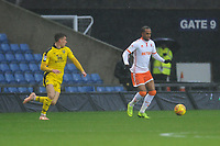 Blackpool's Nathan Delfouneso under pressure from Oxford United's Josh Ruffels<br /> <br /> Photographer Kevin Barnes/CameraSport<br /> <br /> The EFL Sky Bet League One - Oxford United v Blackpool - Saturday 15th December 2018 - Kassam Stadium - Oxford<br /> <br /> World Copyright © 2018 CameraSport. All rights reserved. 43 Linden Ave. Countesthorpe. Leicester. England. LE8 5PG - Tel: +44 (0) 116 277 4147 - admin@camerasport.com - www.camerasport.com