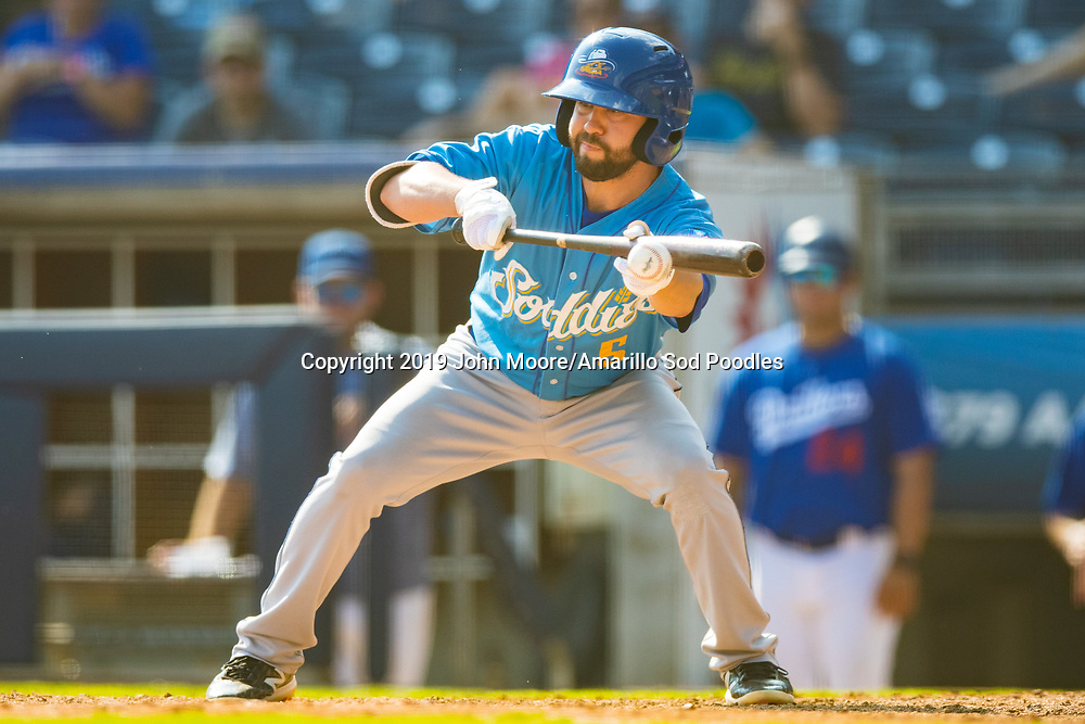 Amarillo Sod Poodles infielder Peter Van Gansen (5) bunts the ball against the Tulsa Drillers during the Texas League Championship on Sunday, Sept. 15, 2019, at OneOK Field in Tulsa, Oklahoma. [Photo by John Moore/Amarillo Sod Poodles]