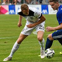 01.08.2020, C-Team Arena, Ravensburg, GER, WFV-Pokal, FV Ravensburg vs SSV Ulm 1846 Fussball, <br /> DFL REGULATIONS PROHIBIT ANY USE OF PHOTOGRAPHS AS IMAGE SEQUENCES AND/OR QUASI-VIDEO, <br /> im Bild Steffen Kienle (Ulm, #23), Philipp Altmann (Ravensburg, #14)<br /> <br /> Foto © nordphoto / Hafner