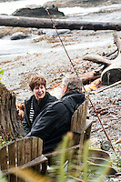 Portraits of Nolan and Sandy Fisher on the beach by their home in Port Renfrew, Vancouver Island, BC.