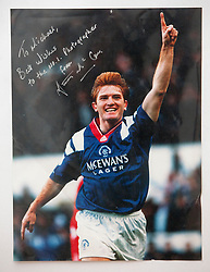 Stuart McCall celebrates after scoring Rangers first goal in a cup final at Hampden. Pictures and pages from the time at Rangers News 1989 to 1993..©Michael Schofield.