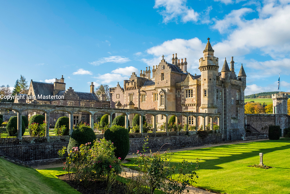 View of Abbotsford House the former home of Scottish writer Sir Walter Scott outside Melrose in Scotland, United Kingdom.