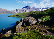 Southwest shore of Surprise Lake with The Gates and Black Nose visible on the Aniakchak Caldera Rim, Aniakchak National Monument, Alaska.