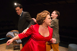 © Licensed to London News Pictures. 02/09/2015. London, UK. Fighting on stage with L-R: James Wrighton, Wendi Peters and Matthew Fraser Holland. World premiere of Hatched 'n' Dispatched, a black comedy set on one evening in 1959, opens at the Park Theatre in Finsbury Park. Written by Gemma Page & Michael Kirk, directed by Michael Kirk, the comedy stars Wendi Peters, Diana Vickers and Vicky Binns. Running from 1 to 26 September 2016. Photo credit : Bettina Strenske/LNP