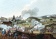 Peninsular Campaign. Battle of Corunna (La Coruna) Spain 16 January 1809. British under Sir John Moore defeated French under Soult. Moore mortally wounded but lived to hear of victory. Aquatint after William Heath 1815.