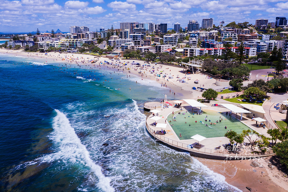 Aerial photo of the seaside swimming pool at Kings Beach, Caloundra, Sunshine Coast, Queensland, Australia