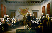 John Trumbull's painting, Declaration of Independence, depicting the five-man drafting committee of the Declaration of Independence presenting their work to the Congress. The painting can be found on the back of the U.S. $2 bill. The original hangs in the US Capitol rotunda.