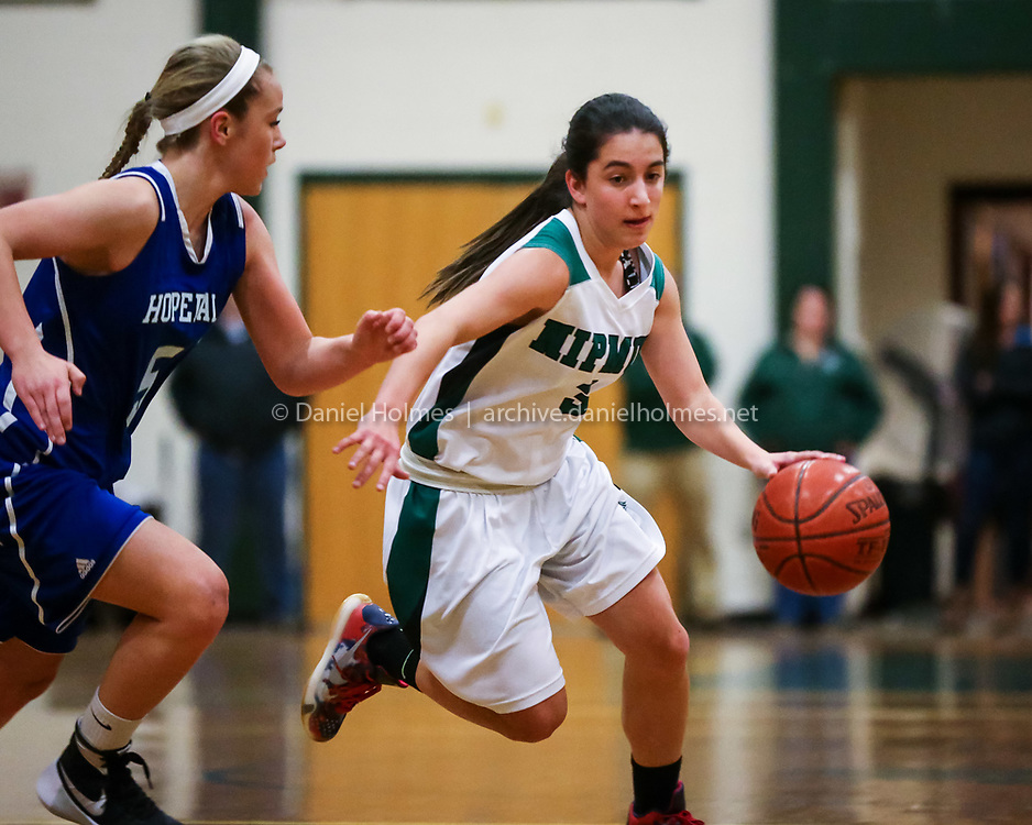 (1/15/16, UPTON, MA) Nipmuc's Ashley Ambrosino blows by the defense during the girls basketball game against Hopedale at Nipmuc High School in Upton on Friday. Daily News and Wicked Local Photo/Dan Holmes