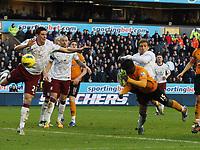Football - Premier League - Wolverhampton Wanderers vs. Aston Villa - Wolves' Emmanuel Frimpong is kicked in the face by  Aston Villa's Stiliyan Petrov at Molinuex.