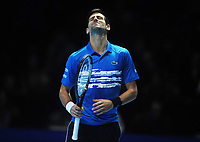 Tennis - 2019 Nitto ATP Finals at The O2 - Day Three<br /> <br /> Singles Group Bjorn Borg: Novak Djokovic (Serbia) vs.Domininic Thiem (Austria)<br /> <br /> Novak Djokovic starts to loose the match in the final the break<br /> <br /> COLORSPORT/ANDREW COWIE