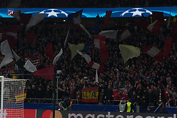 November 22, 2017 - Madrid, Madrid, Spain - The supporters of Atletico de Madrid..during Atletico de Madrid won by 2 to 0 whit goals of Griezmann and Gameiro against Roma. (Credit Image: © Jorge Gonzalez/Pacific Press via ZUMA Wire)