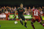 Stoke City player Lasse Sorensen moves the ball forward in the second half during the EFL Cup match between Crawley Town and Stoke City at The People's Pension Stadium, Crawley, England on 24 September 2019.