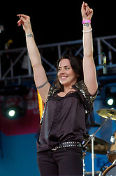 Spice Girl, Sporty Spice  Mel C  performs solo at Party in the Park Temple Newshome Leeds 2005<br /> <br /> Melanie Jayne Chisholm, known professionally as Melanie C or Mel C, is an English singer, songwriter, entrepreneur, actress and television personality. She is one of the five members of the Spice Girls, in which she was nicknamed Sporty Spice