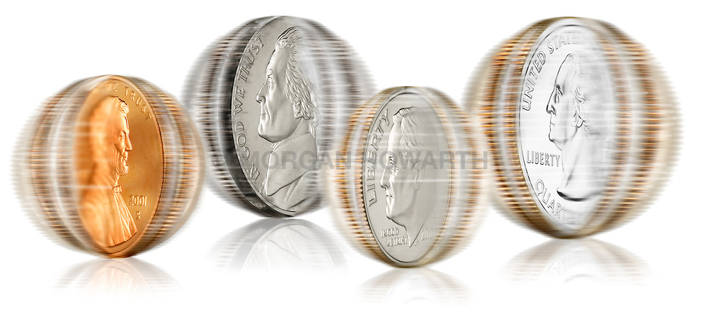 Spinning U.S. coins Spinning U.S. coins