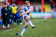 Workington Town full back Jamie Foster (1) with a conversion during the Betfred League 1 match between Keighley Cougars and Workington Town at Cougar Park, Keighley, United Kingdom on 18 February 2018. Picture by Simon Davies.