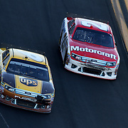 Teammates Sprint Cup Series driver David Ragan (6) and Trevor Bayne (21) race during the Daytona 500 at Daytona International Speedway on February 20, 2011 in Daytona Beach, Florida. (AP Photo/Alex Menendez)