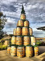 16 December 2013:  Wine barrels decorated as Christmas Tree art in Temecula, California.  iPhone Stock Photo