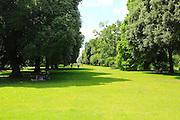 Trees and lawn in summer at Royal Botanic Gardens, Kew Gardens, London, England, UK