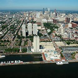 Aerial view of Penns Landing view west  Philadelphia, Pennsylvania