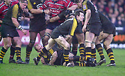 Gloucester, Gloucestershire, UK., 04.01.2003, Rob HOWLEY, looking for space for his pass, during, Zurich Premiership Rugby match, Gloucester vs London Wasps,  Kingsholm Stadium,  [Mandatory Credit: Peter Spurrier/Intersport Images],