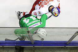 Sacha Guimond of Olimpija vs Brett Olson of RBS during ice hockey match between HDD Olimpija Ljubljana and EC Red Bull Salzburg in Erstebank league season 2016/17, on October 30, 2016 in Hala Tivoli, Ljubljana, Slovenia. Photo by Morgan Kristan / Sportida